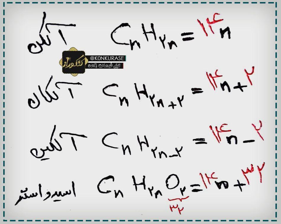 فرمول های محاسبه جزم مولی هیدروکربن ها